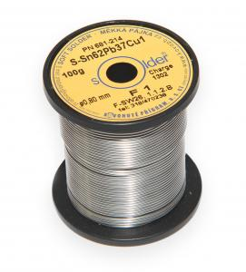 Olovnatá trubičková spájka S-Sn62Pb37Cu1 priemer 0,8 mm