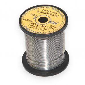 Výrobek: Olovnatá trubičková spájka S-Sn63Pb37E priemer 0,6 mm