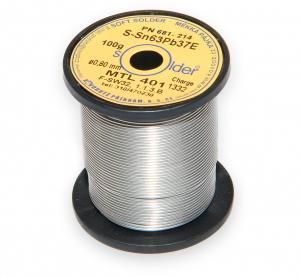 Olovnatá trubičková spájka S-Sn63Pb37E priemer 0,8 mm