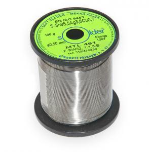 Bezolovnatá trubičková spájka S-Sn95,5Ag3,8Cu0,7 priemer 0,5 mm