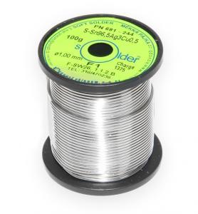 Bezolovnatá trubičková spájka S-Sn96,5Ag3Cu0,5 priemer 1 mm