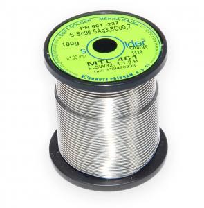 Bezolovnatá trubičková spájka S-Sn95,5Ag3,8Cu0,7 priemer 1 mm