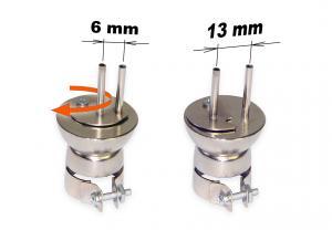 Horúcovzdušná dýza dvojitá nastaviteľná 2x3 mm, rozteč 6-13 mm typ 1325