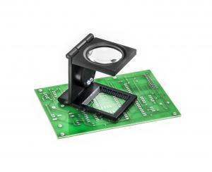Servisná lupa s meradlom a LED osvetlením celokovová, 15 dioptrií 5x zväčšenie