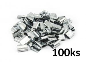 Pozinkované kovové spony pre páskovanie PP a PET pások do 16mm 100ks