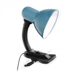 Stolná ohybná lampa s klipom pre žiarovky E27 šedomodrá