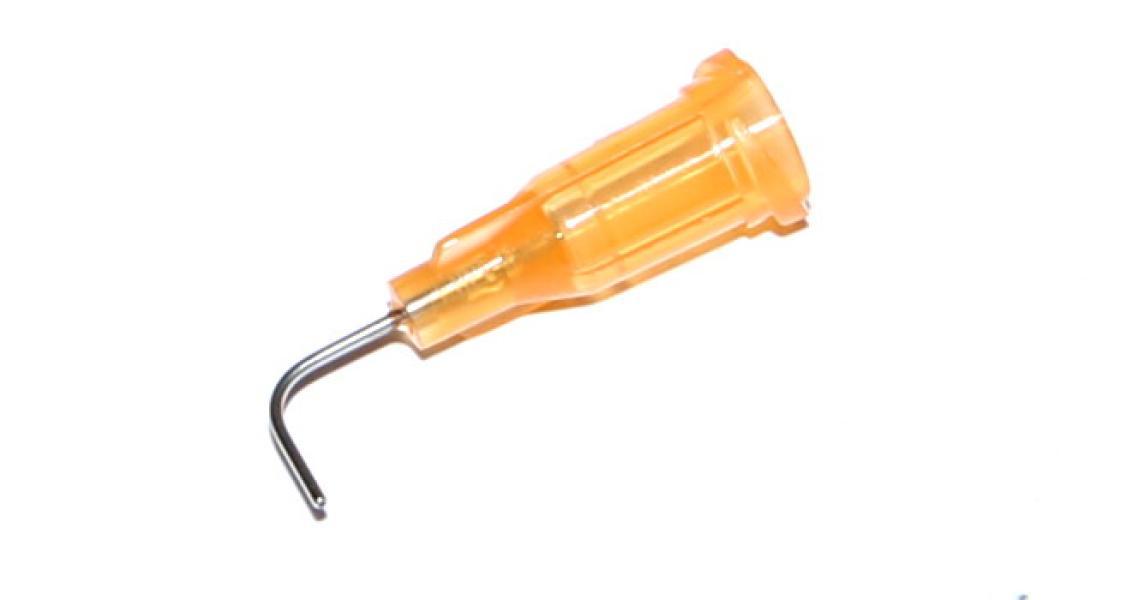 90° zahnuté aplikačné ihly s nerezovou kanylou oranžová 23G 1ks