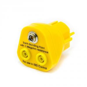 Uzemňovacie body ESD do zásuvky 230V, 2x banán 4mm, 1x ESD patentka 10mm