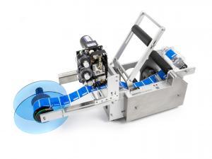 Výrobek: Poloautomatická etiketovačka LT-50D na fľaše, dózy a plechovky s integrovanou tlačiarňou expirácií
