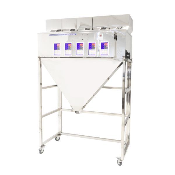 Päťhlavý automatický dávkovač sypkých materiálov a zmesí 5x 10-500g