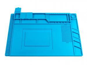 Veľká silikónová podložka 455x300mm s organizérom pre servis a opravy mobilných telefónov, tabletov