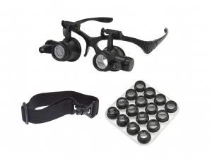 Zväčšovacie okuliare s LED prisvietením a výmennými šošovkami a 2.5x - 25x