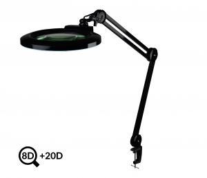 Čierna polohovateľná LED lampa s lupou IB-178, priemer 178mm, 8D + 20D