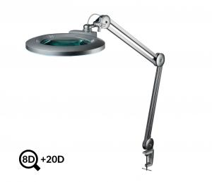 Šedá stolná LED lampa s lupou IB-178, priemer 178mm, 8D + 20D