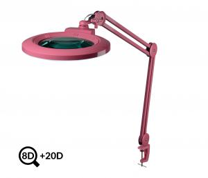 Ružová kozmetická LED lampa s lupou IB-178, priemer 178mm, 8D + 20D