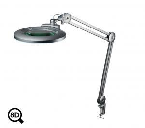 Šedá stolná lampa s lupou a reguláciou jasu IB-150, priemer 150mm, 8D