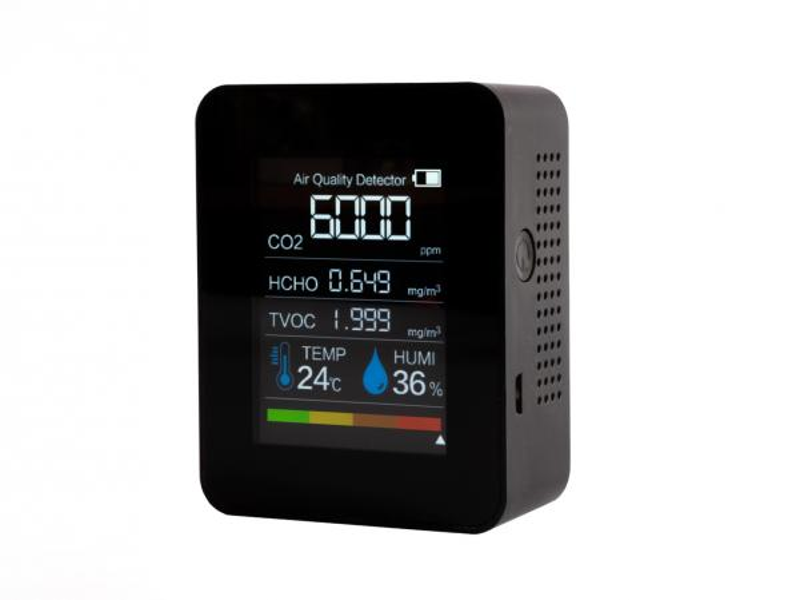 Detektor CO2 5v1 - s meraním teploty, vlhkosti, formaldehydu a TVOC